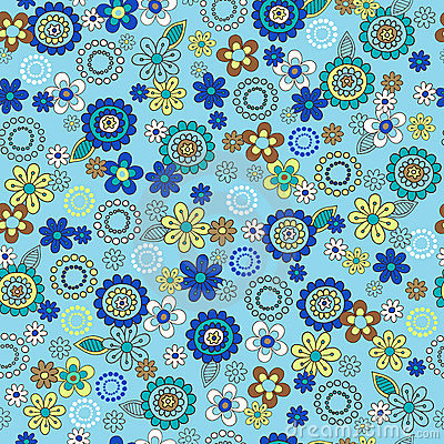 Blue Ditsy Flowers Seamless Repeat Pattern