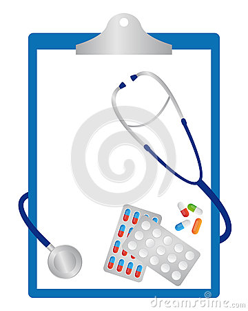 Clipboard with pills and stethoscope