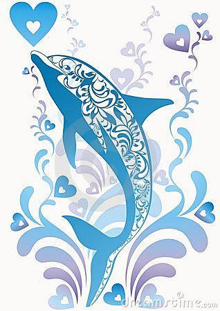 Blue dolphin with ornamental elements