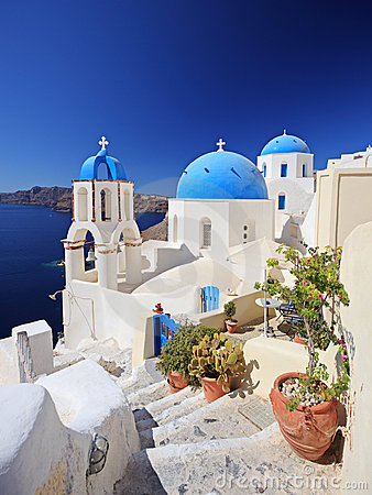 Blue dome church in Oia village