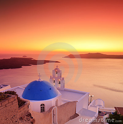 Blue dome church on Santorini island