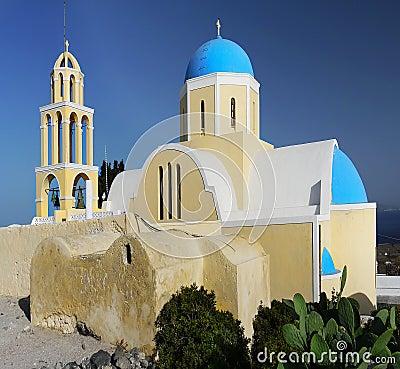 Free Blue Dome Church, Santorini Island Stock Images - 46644474