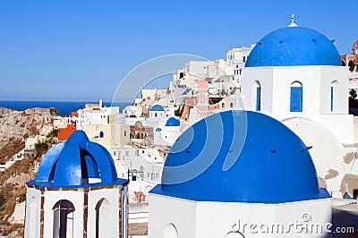 blue dome churches santorini  oia