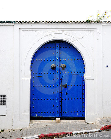 Blue door on the Greek island