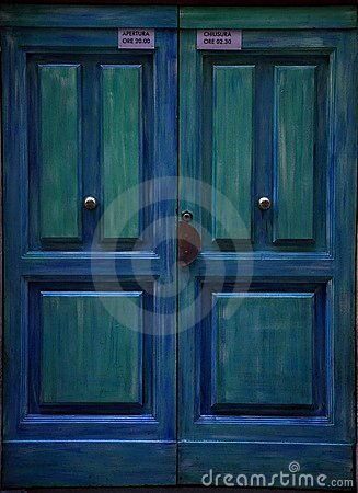 Blue door in Italy