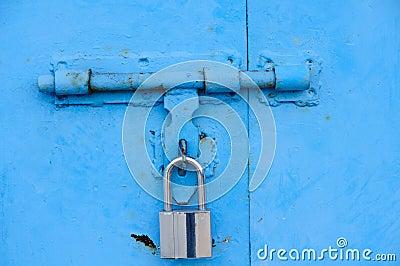 Blue door and lock