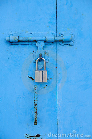 Blue door and lock