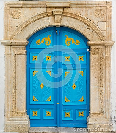 Free Blue Door With Ornament As Symbol Of Sidi Bou Said Royalty Free Stock Photo - 106643715