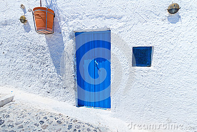 Blue doors of Santorini