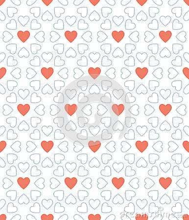 Blue dot and red heart valentine day pattern background Vector Illustration