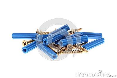 Blue dowels and golden screws