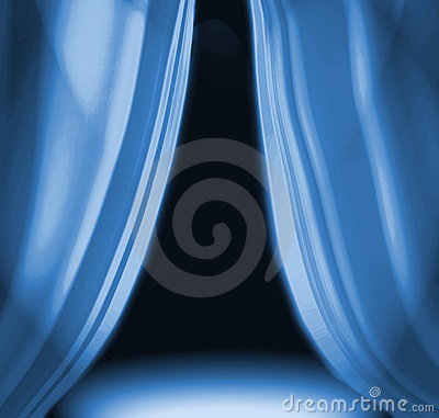 Blue Drapes On Empty Stage