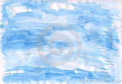 The blue drawn sky on paper