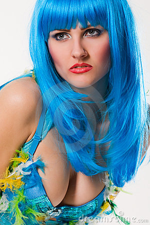 Blue dress and wig