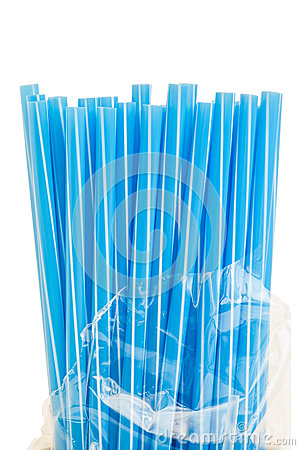 Free Blue Drinking Straws Stock Image - 91844501