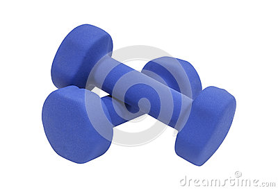 Blue Dumbbells Isolated