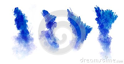 Blue dust explosions isolated on white background