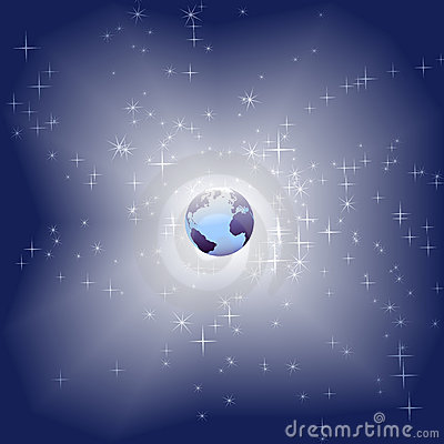 Blue Earth in bright star sparkle space background