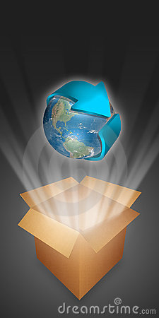 Blue earth emerging from a box