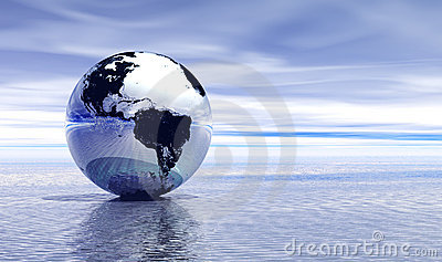 Blue earth on water