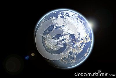 Blue earthlike alien planet