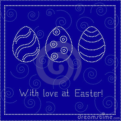 Blue Easter card with eggs