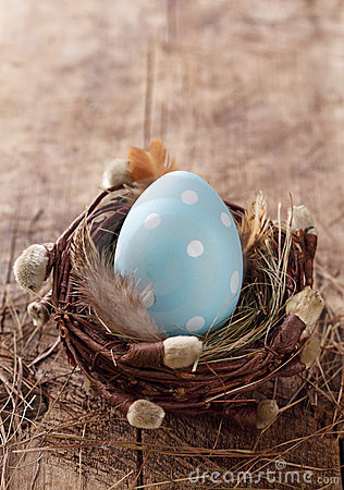 Blue easter egg in nest