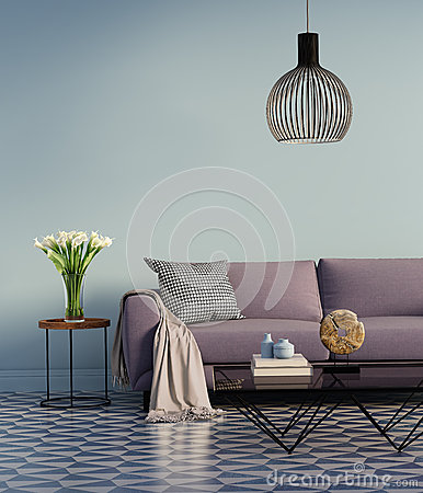 Free Blue Elegant Purple Sofa With A Side Table And Flowers Stock Photography - 61146072