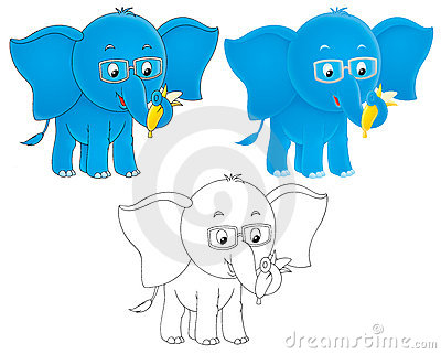 Blue elephant wearing eye-glasses