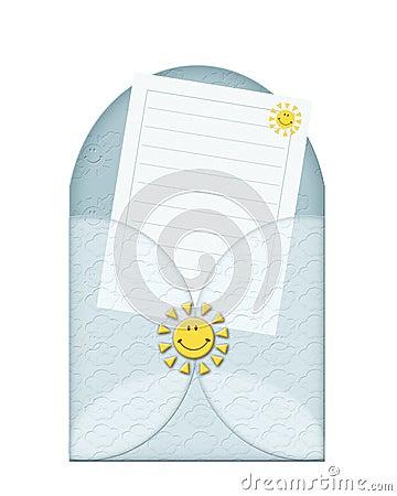A blue envelope