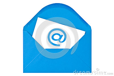 Blue envelope with email symbol