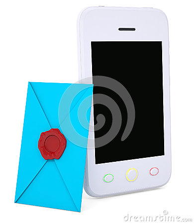 Blue envelope and smartphone