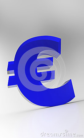Blue Euro sign