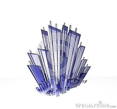 Blue extreme cityscape glass - skyline