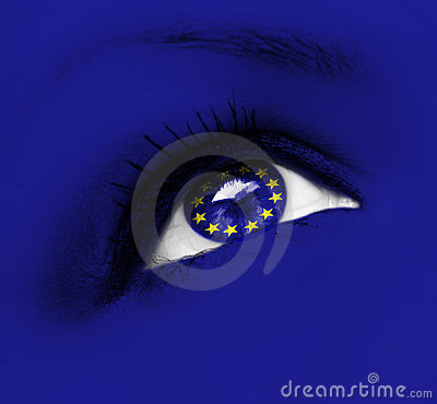 Blue eye with european union flag