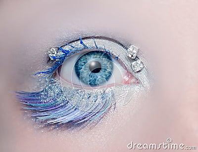 Blue eye macro closeup winter makeup