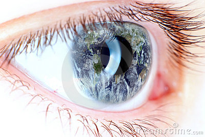 Blue eye in macro with earth map