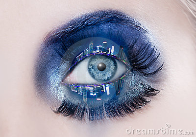 Blue eye makeup macro night city skyline eyelids
