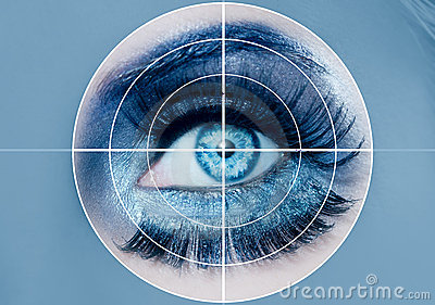 Blue eye makeup macro pupils recognition sensor
