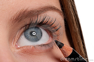 Blue Eye, Woman Applying Black Make-up Pencil Stock Photo - Image: 11862060