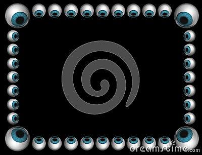 Blue eyeballs frame on black