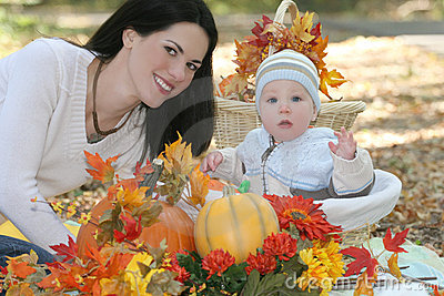 Blue Eyed Baby Boy in Basket, Fall Theme