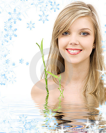Free Blue-eyed Blonde With Bamboo In Water Stock Images - 7022614