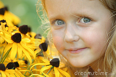 Blue Eyed Girl with Brown Eyed Susans