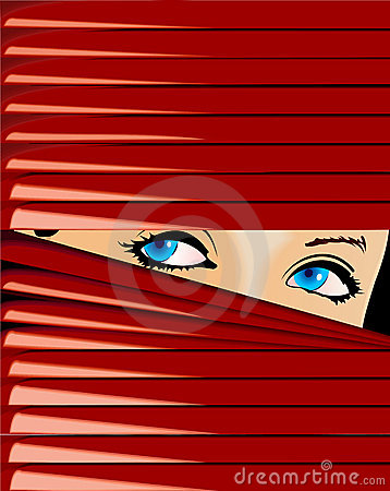 Blue-Eyed Girl Looks Because Of Red Jalousie.