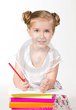 Blue-eyed girl wiht red pencil looking at camera