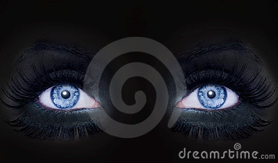 Blue eyes darked face makeup black panther woman