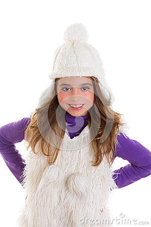 Blue eyes happy child kid girl with white winter cap