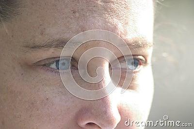 Blue eyes looking