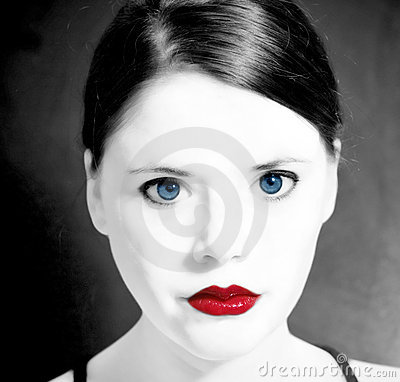 Blue eyes red lips woman